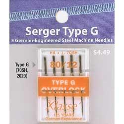 80//12 Medium Type K Overlock Machine Needles