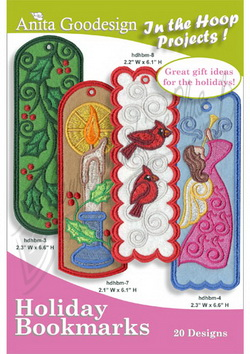 Used Embroidery Machines For Sale >> Anita Goodesign PJs In the Hoop Holiday Bookmarks 24AGPJ