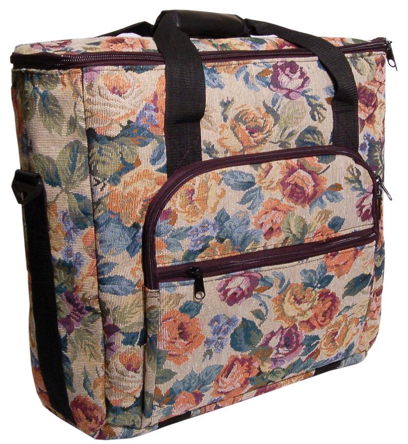 Hemline 2pcs Cream Floral Tapestry Trolley Bag