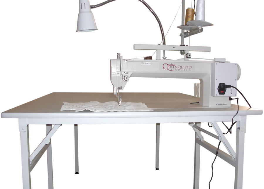 Queen Quilter 18 Machine with Sit Down Table QQSD. Check Out The Handi Quilter Sweet Sixteen Below!