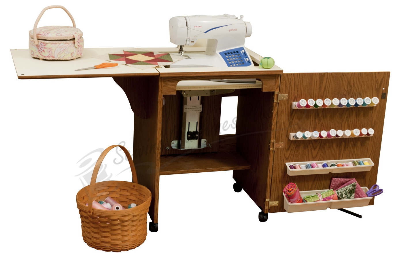 compact sewing machine cabinets