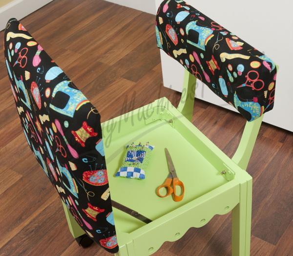 Arrow Sewing Chair Black Riley Blake fabric on Green 7014B