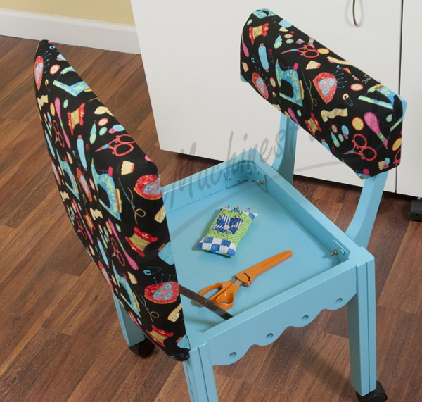 Arrow Sewing Chair Black Riley Blake fabric on Blue 7019B