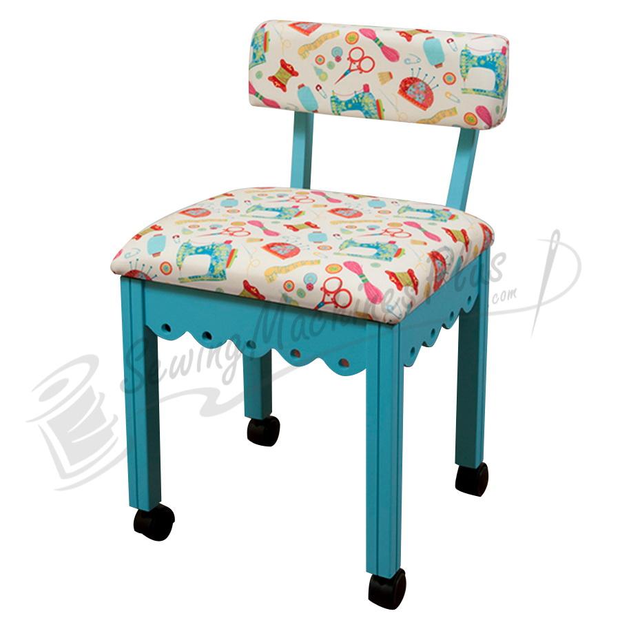 Arrow Sewing Chair White Riley Blake fabric on Blue 7019W