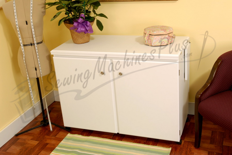 Arrow 98701 Bertha Sewing Cabinet For Large Machines White Finish
