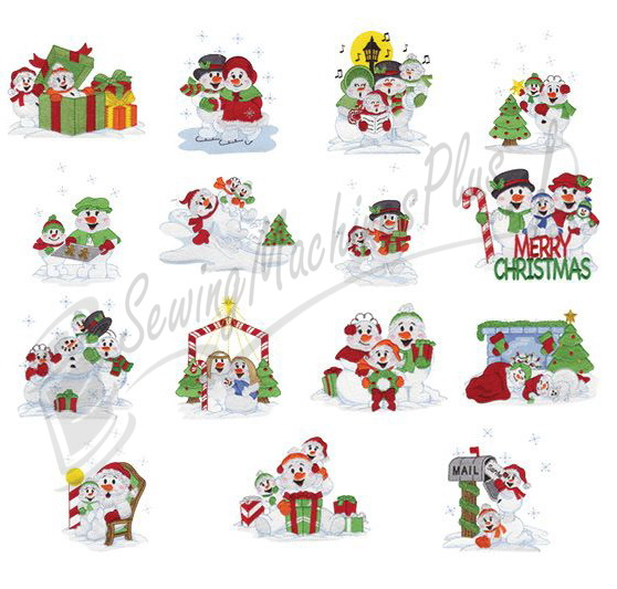 Collectibles Snow Family Christmas Embroidery Designs - 970382