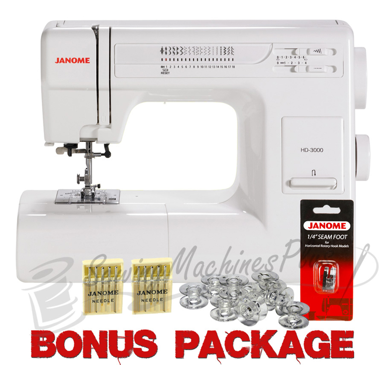 Janome hd3000 heavy duty mechanical sewing machine w free for Janome hd3000