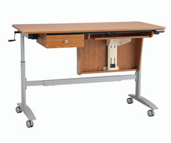 Inspira Electric Multi-Lift Sewing Table - Oak, Made by Horn of America