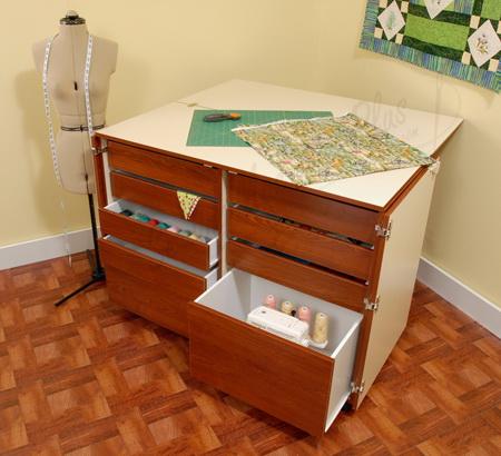 Kangaroo Kabinets Dingo 9 Drawer Sewing Cabinet - Teak-K7905