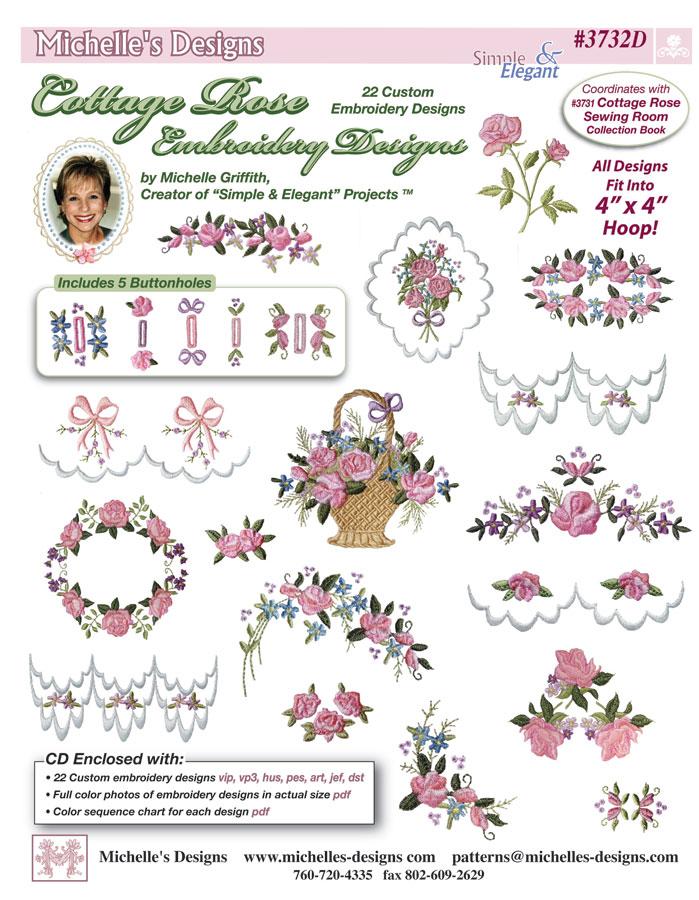Michelles designs cottage rose embroidery design