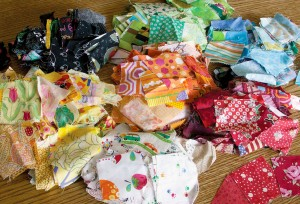 Scraps, pieces and extras. These spare parts will make a lovely quilt someday!