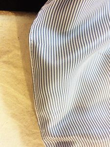 Topstitching on sleeve lining.