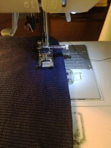 Sewing with twin needle.