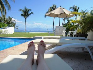 Exchanging my labor for spa services worked for me. Here I'm on a Mexican vacation, rocking a pedicure obtained via barter for my sewing services.