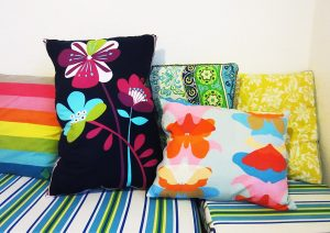 Zippers are especially well suited for large pillows like these floor cushions.
