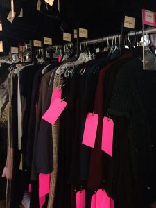 Most film and television costume departments in New York City use bright pink oak tags to identify a garment as needing an alteration.