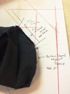 Diagram on where to add fabric and redraw miter seam line.
