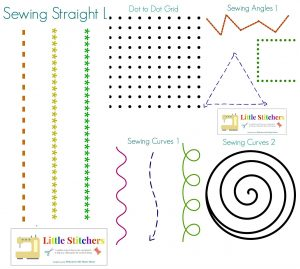 "There are many printables available online that allow children to practice ""sewing"" by having the children sew patterns on paper."
