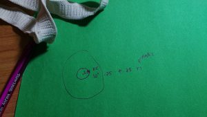 "Then I divide by 6.28 (or twice pi.) That gives me the radius of the circle for the waist, 3.34""."