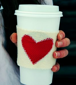 Warm heart coffee cozy.