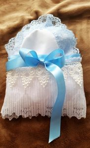 When I made these, I thought the Mother of the Bride & Groom may need the hankies to wipe away their tears during the wedding ceremony!