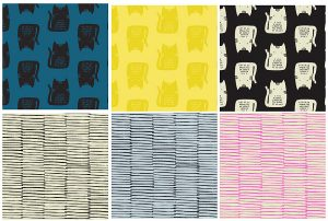 From Andover Fabrics, you'll find cats in blue, black and yellow.