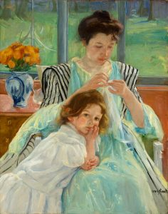 This post's painting of choice: Mary Cassatt's Young Mother Sewing.