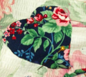 Be sure before you pin or sew that your main fabric pieces are together with their patterned sides facing outward.