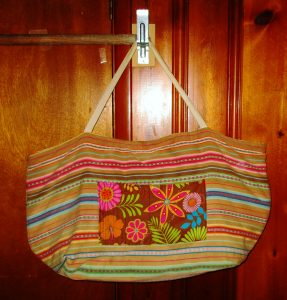 So I grabbed a thick piece of table linen & whipped up a humongous bag to carry everything.