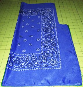Fold the bandanas in half with the fold running vertically.