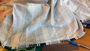 """I measured out 16"""" from each corner & sewed elastic around each."""