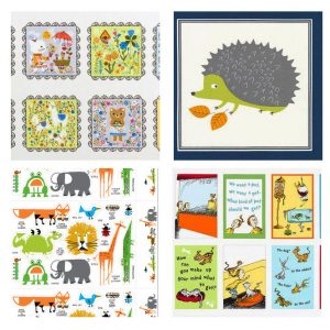Tara Lilly's Whimsical Storybook, Sea Urchin Studio's Forest Fellows 2, Ed Emberley's Happy Drawing, and Dr. Seuss Enterprises' What Pet Should I Get?