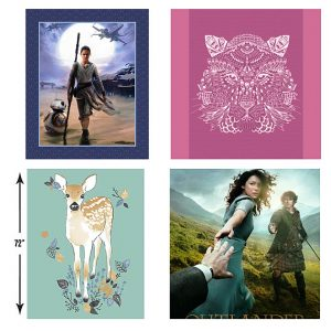 Camelot Cotton's Rey and BB8, Hawthorne Thread's Bengal Quilt Panel, and their Fawn Quilt Panel in Aspen, and Kathy Hall's Outlander Panel.