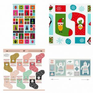 Makower UK's Wrap it Up Hanging Panel, Ann Kelle's Jingle 4 Stockings, and Hawthorne Thread's Oh What Fun Stockings cut outs, and Hawthorne Thread's Fairisle Panel in Multi.