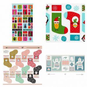 Makower UK's Wrap it Up Hanging Panel, Ann Kelle's Jingle 4 Stockings, and Hawthorne Thread's Oh What Fun Stockings cut outs, and Hawthorne Thread's Fairisle Panel in Multi.
