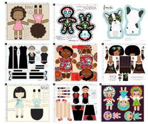 Daphne by stacyiesthsu, Cute Dia de Los Muertos Doll by elladorine, Frenche by ewa_brzozowska, Ruth Bader Ginsburg by nicoleporter, Angelina Cut N Sew Doll by tiffanyhoward, Cut and Sew Doll Pattern Steampunk Princess by selinafenech, Margo by stacyiesthsu, Frida Kahlo by nicoleporter, and Cut N Sew Bunka Dolls by heidikennedy.