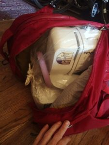 I discovered that my favorite freakishly lightweight Brother sewing machine fit perfectly into the backpack.
