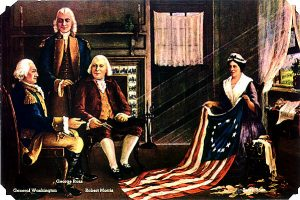 Betsy Ross presenting her flag to George Washington & two other members of the Continental Congress.