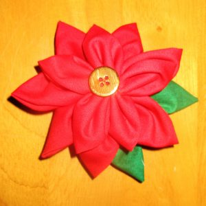You can sew both flower layers from red fabric & make these into poinsettias.