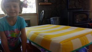Here you can see both my darling daughter & that the tablecloth fits.