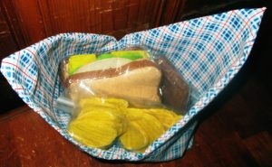 Your lunch will taste much better than this felt example lunch! Just tie bag closed to carry.