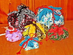 Easy to sew lotus drawstring pouch make great gift bags.